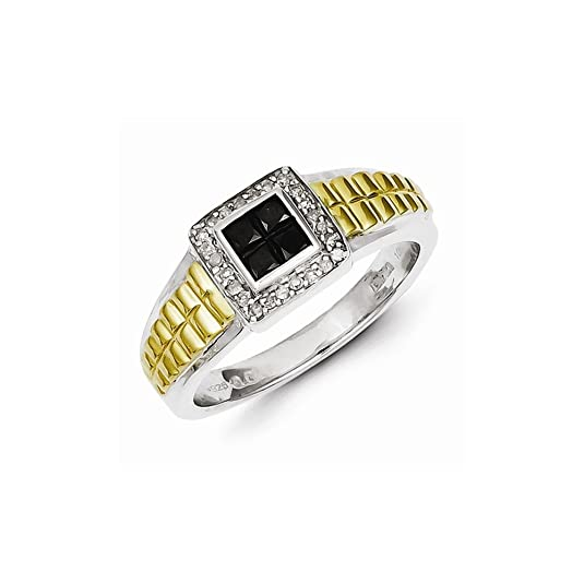 Sterling Silver and Gold Plated Black & White Diamond Square Men's Ring