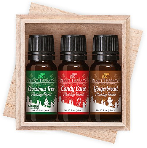 Home for the Holidays - Holiday Blend 3 Essential Oil Gift Set. (Includes: Christmas Tree, Candy Cane, Gingerbread) 100% Pure, Undiluted, Therapeutic Grade.