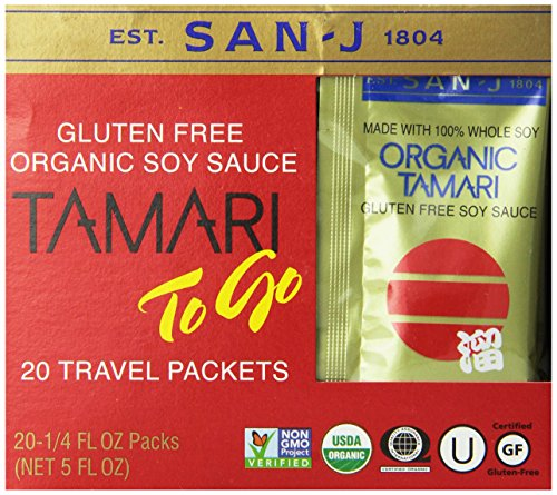 San J Organic Tamari Gluten Free Soy Sauce Travel Packs, 5 Ounce (Organic Soy Sauce compare prices)