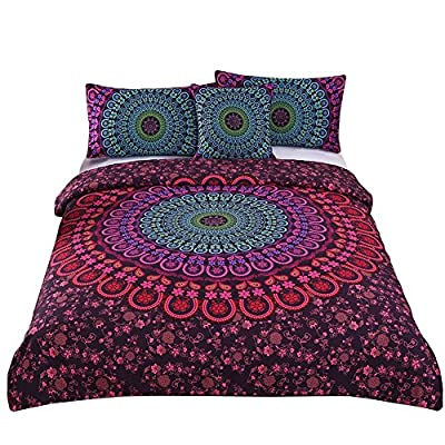 Sleepwish 4 Pcs Mandala Bedding Posture Million Romantic Soft Bedclothes Plain Twill Boho Bohemian Duvet Cover Set Twin Full Queen King Cal-King Size