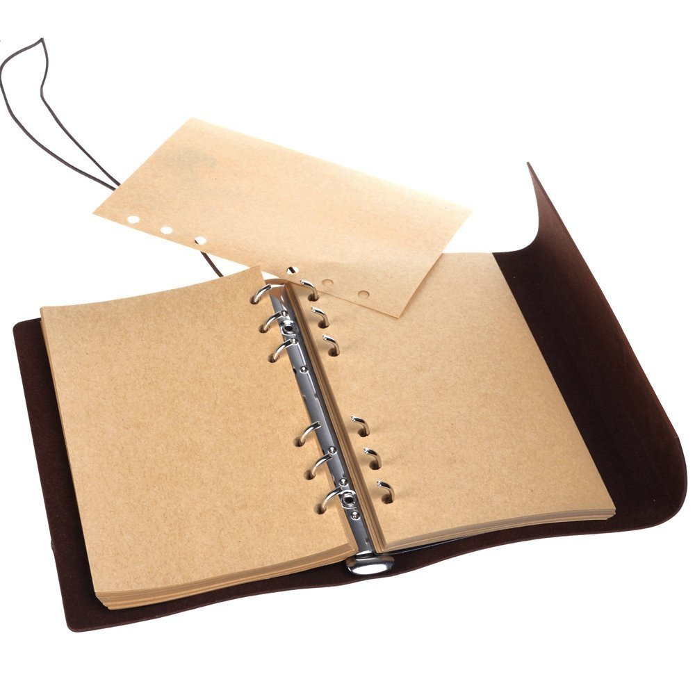 A7 Bound Notebook Daily String Retro Vintage Classic Leather Journal-85 Blanked Pages for Graffiti -Private Ship Pendant (Coffee Brown) 2