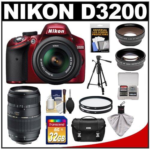 Nikon D3200 Digital Slr Camera & 18-55Mm G Vr Dx Af-S Zoom Lens (Red) With 70-300Mm Lens + 32Gb Card + Case + Filters + Tripod + Telephoto & Wide-Angle Lens Kit