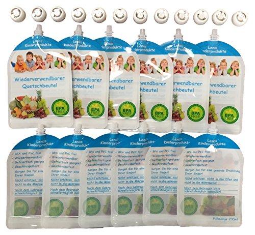 12er-Pack-Wiederverwendbare-Quetschbeutel-zum-Selbst-Befllen-BPA-PVC-frei-Gefrierfach-Geschirrsplfest-Baby-Kleinkinder-mit-selbst-gekochten-gesunden-Essen-Gemse-versorgen-200ml-Fllmenge