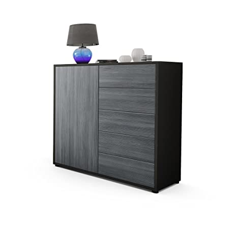 Kommode Sideboard Ben V2, Korpus in Schwarz matt / Fronten in Avola-Anthrazit