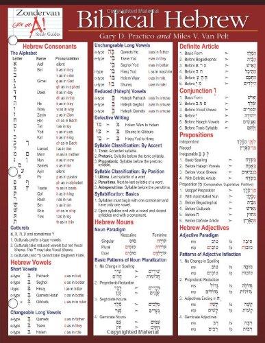 Biblical Hebrew Laminated Sheet