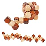 MAGIKON Snake Cube Wooden Brain Teaser Puzzle toy, 60mm