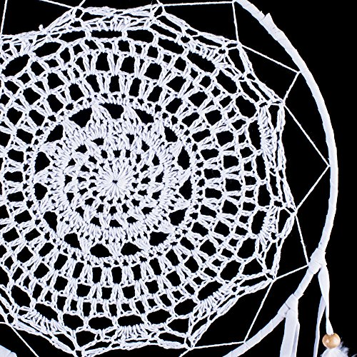 "Dream Catcher ~ White Crochet, Boho, Gypsy, Hippie Style 10"" x 23"" Long!"
