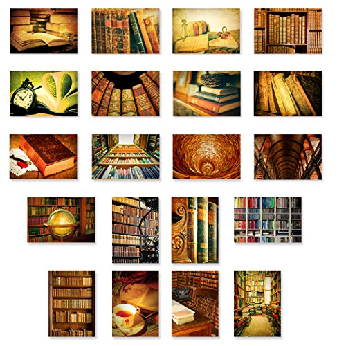 BOOKS postcard set of 20 postcards. Book, library and reading theme post card variety pack. Made in USA.