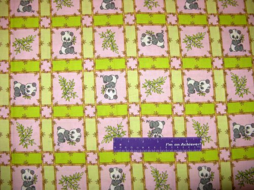 """43"""" Wide Precious Moments Panda Pink Cotton Fabric By The Half Yard front-30227"""