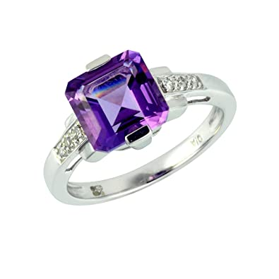 Ivy Gems 9ct White Gold Square Cut Amethyst and Diamond Ring