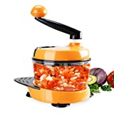 MIGECON Kitchen Manual Food Processor Meat Mincer Vegetable Chopper with Hand Crank and 3 Blades Orange Color (Color: Orange, Tamaño: 6 CUP)