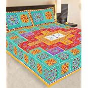 BEDDING BAZAR 201TC Cotton Double Bedsheet With Pillow Covers - Floral, Multicolour