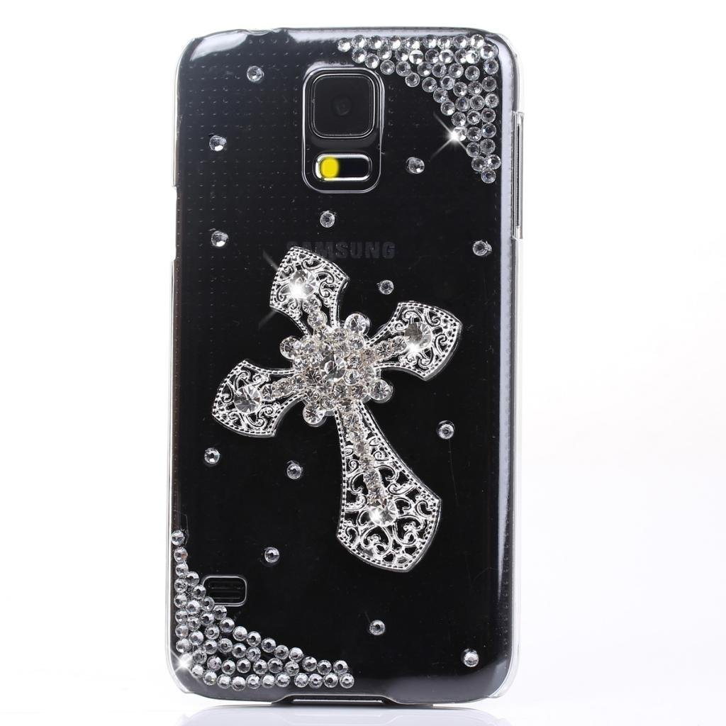 3D Cross Rhinestones Series Bling Handmade Crystal Rhinestone Heart Diamond Bling Cover Soft Faceplate Case for Samsung Galaxy S5 I9600