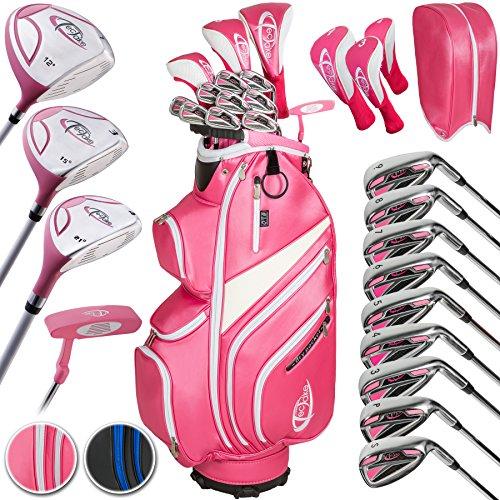 TecTake Set di mazze da golf completo grafite 13 mazze ferri legno + sacca destra - modelli differenti - (donne | no. 401485)