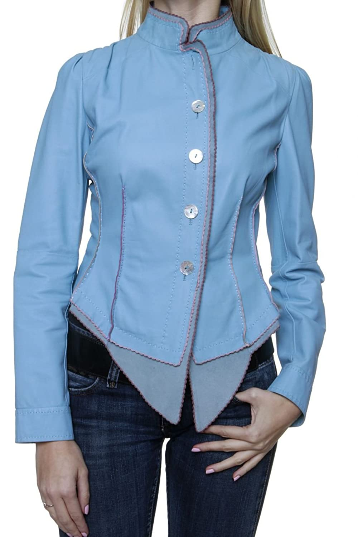 Cristiano di Thiene Damen Jacke Blouson Lederjacke LORENA, Farbe: Hellblau günstig online kaufen