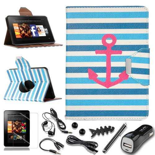 """Pandamimi Ulak(Tm) Unique Fashion Pattern Wallet Magnetic Buckle 360 Degree Pu Leather Case Cover With Auto Sleep-Wake Function For Amazon Kindle Fire Hd 7"""" (2012 Previous Model, Not Fit All New Kindle Fire Hd 2013 And Kindle Fire Hdx) With Screen Protect"""
