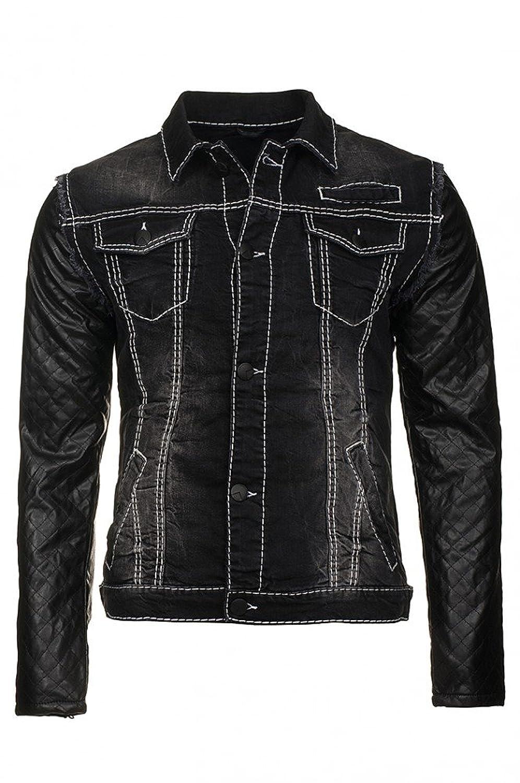 Cipo & Baxx Herren Quilted Denimation Jacke Kunst- Lederjacke Jacket grau Jeans günstig bestellen