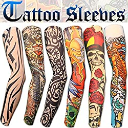 6 Pack Of High Quality Fun And Funky Nylson Stretch Cloth Fancy Dress Costume Fake Arm Art Tattoo Sleeves