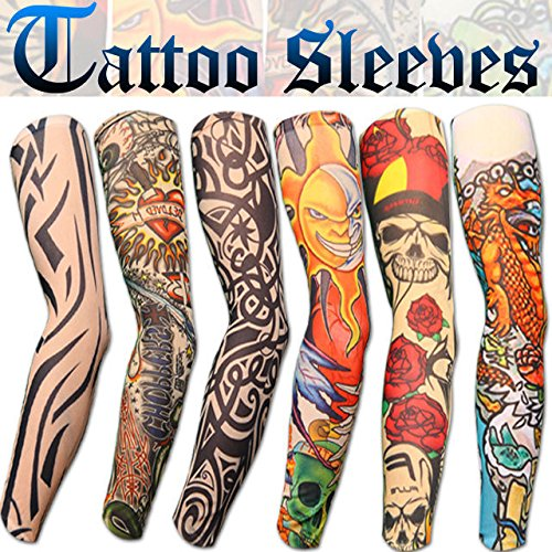 Aadishwar Creations Men's Fancy Dress Costume Fake Arm Art Tattoo Sleeves (Handg18_Multi-Colored _Free Size)