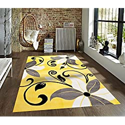 T1014 Yellow Gray White 5'2 x 7'2 Floral Oriental Area Rug Carpet