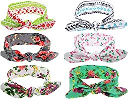 Mookiraer® Baby Girl Newest Turban Headband Newborn Girls Headband Bow Set (HB010)