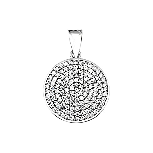 18k white gold pendant round zircons [AA4911]