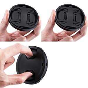 (2-Pack) JJC 62mm Center Pinch Front Lens Cap + Elastic Lens Cap Keeper for Canon, Nikon, Sony, Fujifilm and Other Brand of Lenses with 62mm Filter Thread, Replaces Canon E-62 II Lens Cap