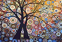 Wooden Framed Paint by Number or Not - New Release Diy Oil Painting by Numbers - Glare Tree Pachira 16*20 inches - PBN Kit for Adults Girls Kids White Christmas Decor Decorations Gifts