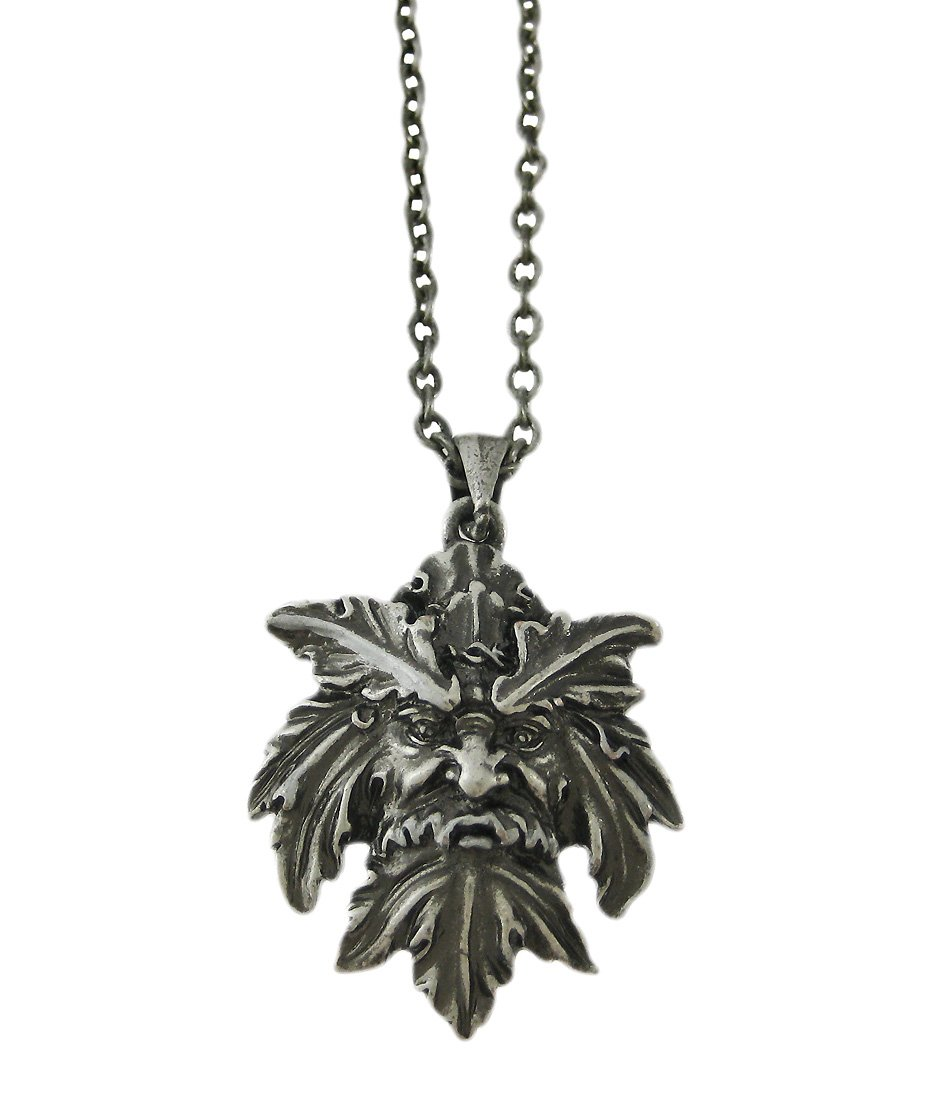 Pewter Celtic Greenman Pendant Necklace Green Man