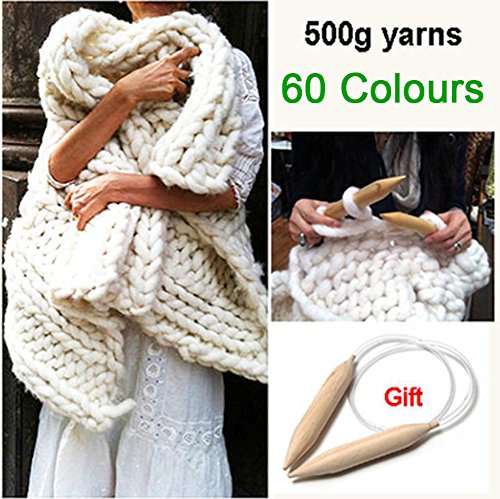 Super Thick Yarns for Knitting High Grade Thick Acrylic Yarn For Hand Knitting Crochet Free Needles 500g (Super Thick Yarn compare prices)