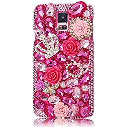 Samsung Galaxy Note 4 Case, Sense-TE Luxurious Crystal 3D Handmade Sparkle Glitter Diamond Rhinestone Ultra-Thin Clear Cover with Retro Bowknot Anti Dust Plug - Crown Flowers Butterfly / Hot Pink