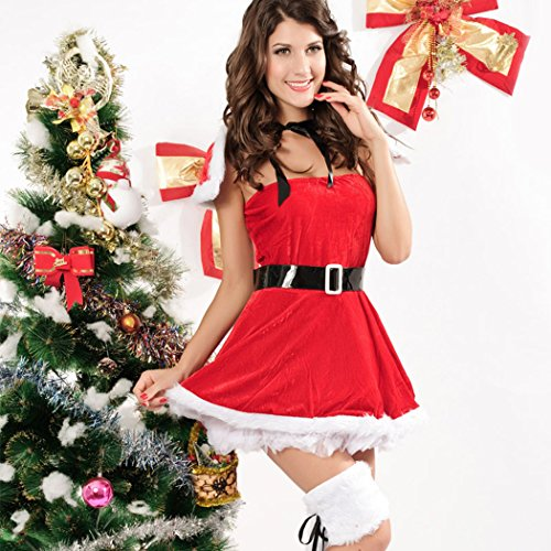 LFDDR Christmas Women's Sexy Skirt Suit Butterfly Punky Santa Costume