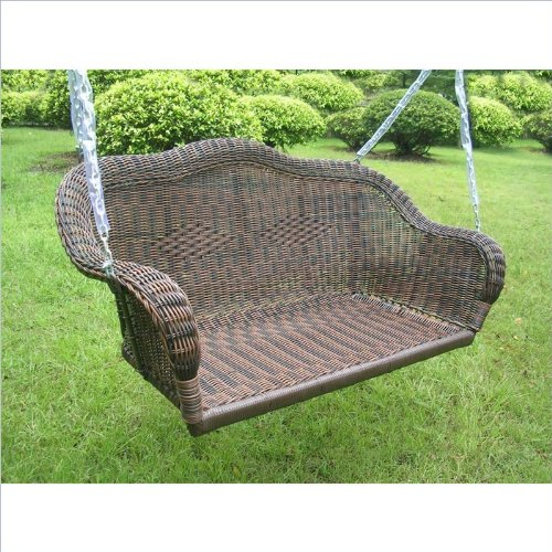 International Caravan All Season Wicker Swing with Chains
