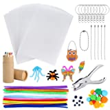 Auihiay 91 Pieces Shrink Plastic Sheet Kit Include 20 Sheets Shrink Plastic with Pipe Cleaners Set, Hole Punch, Pencils and Keychains Accessories for Shrinky Art Supplies