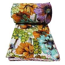 Handicrunch Floral Pattern Gudri Queen Size Kantha Style White Ethnic Quilt Bed Spread Indian Art 104 X 90 Inches