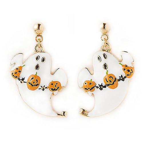 Halloween Costume Jewelry Pumpkin Ghost Dangle Charm Earrings White Orange Gold
