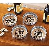 Mud Pie Beer Bottle Coasters (Set of 4), Silver
