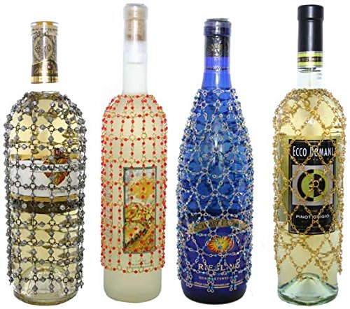Royal Designs Beaded Wine/Champagne Bottle Covers, Decorative Winebag Gift Accessories, 4 Pack, Set 1
