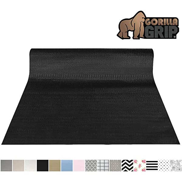 Gorilla Grip Original Smooth Top Slip-Resistant Drawer and Shelf Liner, Non Adhesive Roll, 17.5 Inch x 10 FT, Durable Kitchen Cabinet Shelves Liners for Kitchens Drawers and Desks, Black (Color: Black, Tamaño: 17.5 x 10')