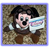 "Disney Aviator Red Barron Flying Ace Mickey Mouse 8"" Plush Bean Bag Doll"