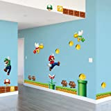 Super Super Mario Build a Scene Peel and Stick Wall Decal Stickers Wall Decals Stickers DIY Removable Stick Baby Boys Girls Kids Room Nursery Wall Mural Decor