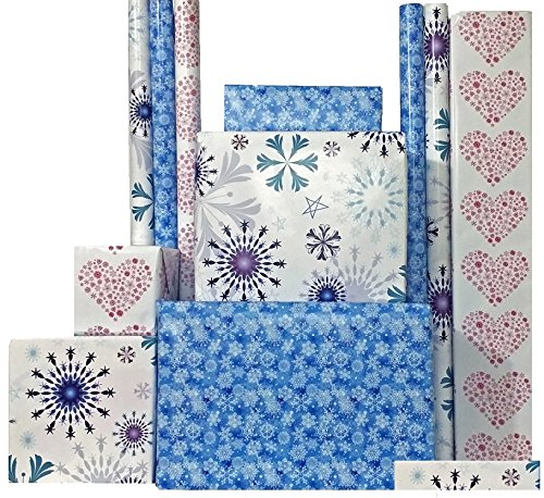 Frozen-Inspired Wrapping Paper (Set of 3), 30″ x 15 Feet each roll (112.5 sq. feet total)