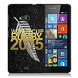 Coque rigide noire pour Nokia Lumia 535 avec impression Motif logo rugby doré et drapeau des All Bla...