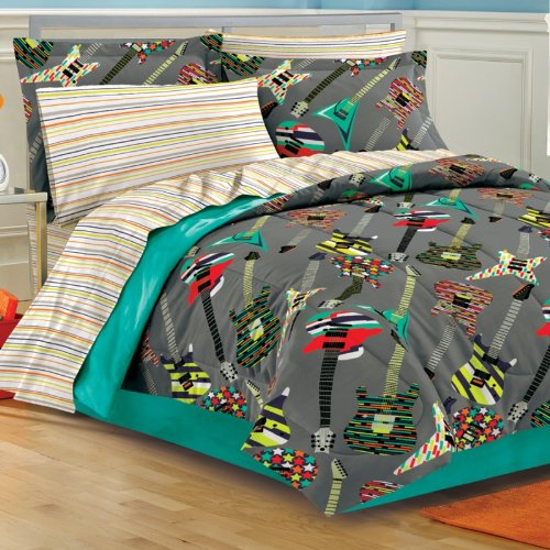 Twin rock electric guitar band grey comforter sheet bed in for Guitar bedding for boys
