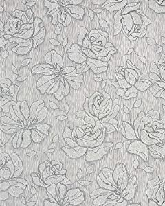 Floral vinyl wallpaper wall covering EDEM 173-30 grey white silver | 5.33 sqm (57 sq ft)