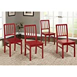 Target Marketing Systems Camden Collection Modern Slatted Back Dining Chairs, Set of 4, Red
