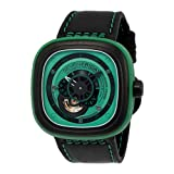 Seven Friday P1-5 mm Automatic Ion Plated Stainless Steel Case Black Leather Mineral Men's & Women's Watch (Color: green)