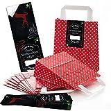 """25 rote, weiß gepunktete Papier Henkeltaschen mit Boden (18 x 8 x 22 cm) mit Weihnachts-Aufkleber Banderole """"Frohe Weihnachten"""" im Tafel und Kreide Stil zum liebenvollen Verpacken von Geschenken; 1a Qualität!"""