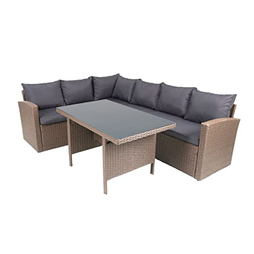 greemotion Rattan-Lounge Hamburg - Gartenmöbel-Set 3-teilig aus Polyrattan in Braun mit Auflagen in Grau - Design-Loungeset mit 2 x Rattansofa & Glastisch fur Outdoor & Indoor