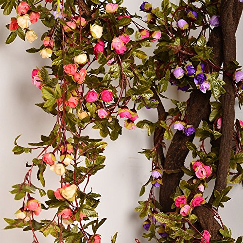 Artificial Rose Garland Silk Flower Vine for Valentine Home Wedding Garden Decoration (purple)